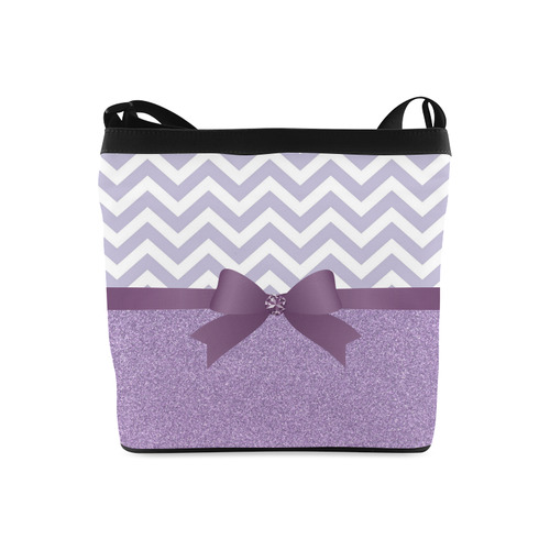 Purple Glitter, Purple Chevron, Purple Bow Crossbody Bags (Model 1613)
