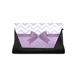 Purple Glitter, Purple Chevron, Purple Bow Clutch Bag (Model 1630)
