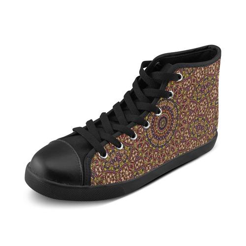 Batik Maharani #2B - Jera Nour High Top Canvas Women's Shoes/Large Size (Model 002)