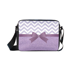 Purple Glitter, Purple Chevron, Purple Bow Classic Cross-body Nylon Bags (Model 1632)