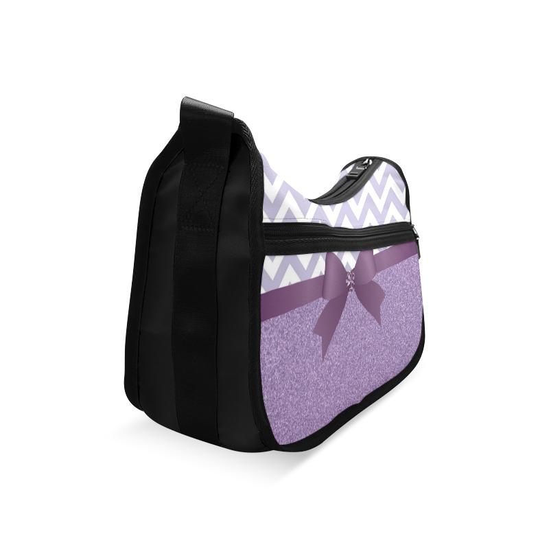 Purple Glitter, Purple Chevron, Purple Bow Crossbody Bags (Model 1616)