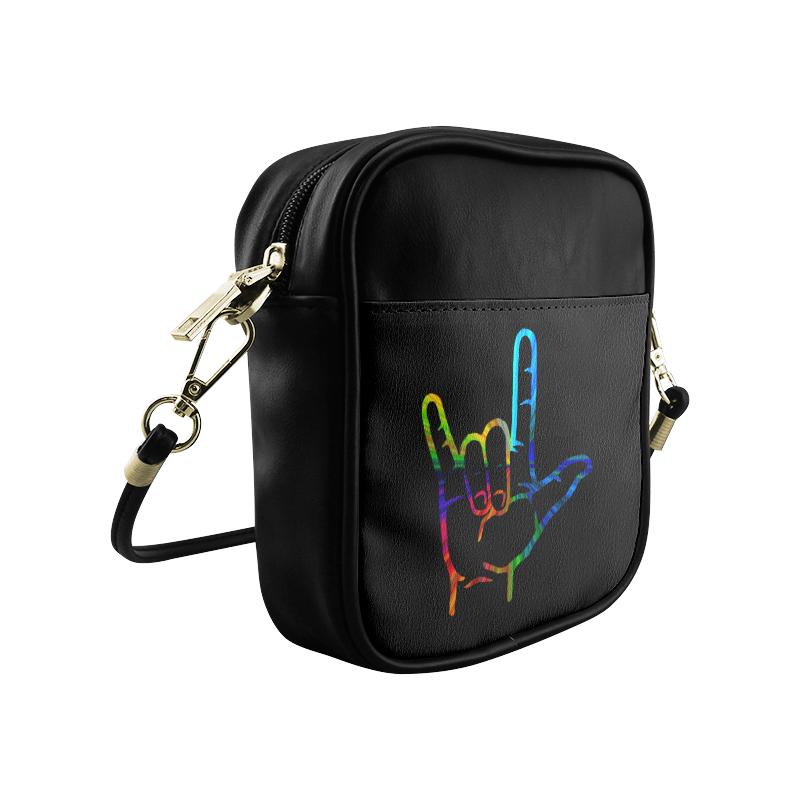 Rainbow Burst ASL I Love You Sling Bag (Model 1627)