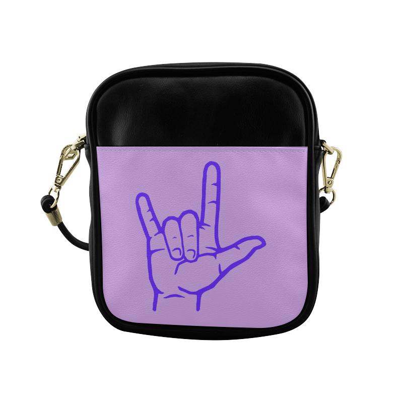Purple ASL I Love You Sling Bag (Model 1627)