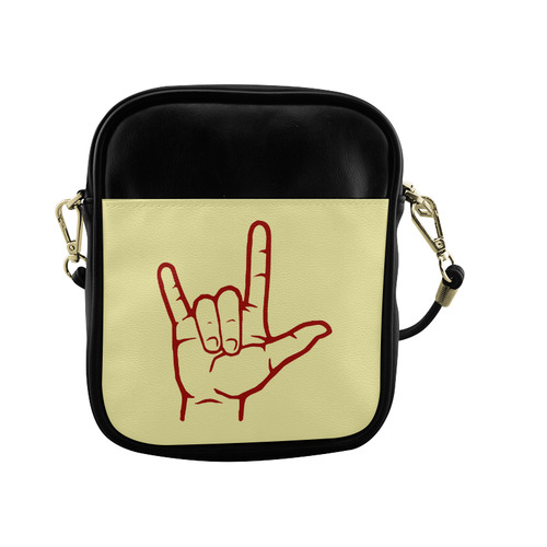 Red ASL I Love You Sling Bag (Model 1627)