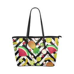 Fruit Watermelon Cherries Chevron Stripes Leather Tote Bag/Large (Model 1651)