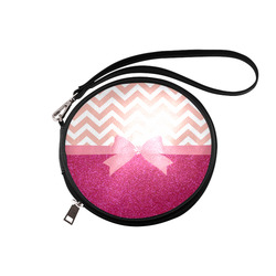 Pink Chevron, Hot Pink Glitter and Bow Round Makeup Bag (Model 1625)