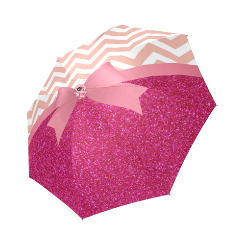 Pink Chevron, Hot Pink Glitter and Bow Foldable Umbrella (Model U01)