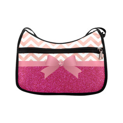 Pink Chevron, Hot Pink Glitter and Bow Crossbody Bags (Model 1616)