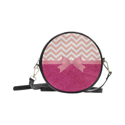 Pink Chevron, Hot Pink Glitter and Bow Round Sling Bag (Model 1647)