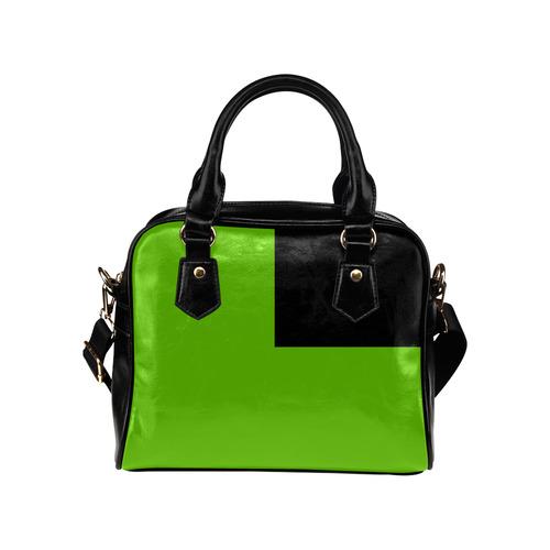 Lime Green and Black Shoulder Handbag (Model 1634)