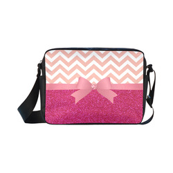 Pink Chevron, Hot Pink Glitter and Bow Classic Cross-body Nylon Bags (Model 1632)