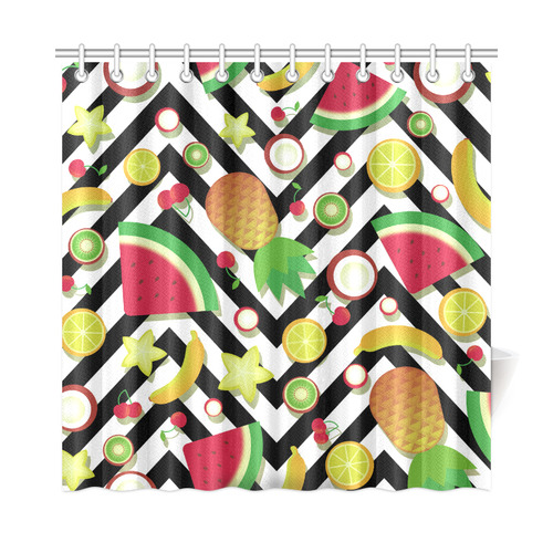 "Fruit Watermelon Cherries Chevron Stripes Shower Curtain 72""x72"""