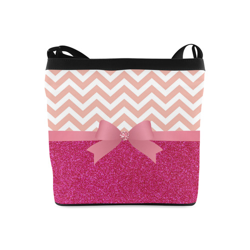 Pink Chevron, Hot Pink Glitter and Bow Crossbody Bags (Model 1613)