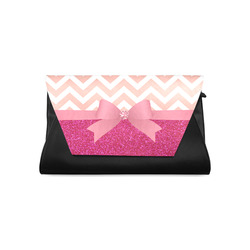Pink Chevron, Hot Pink Glitter and Bow Clutch Bag (Model 1630)