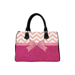 Pink Chevron, Hot Pink Glitter and Bow Boston Handbag (Model 1621)