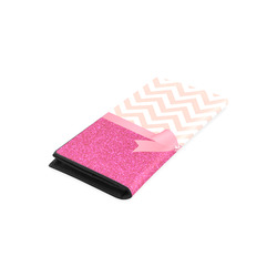 Pink Chevron, Hot Pink Glitter and Bow Women's Leather Wallet (Model 1611)