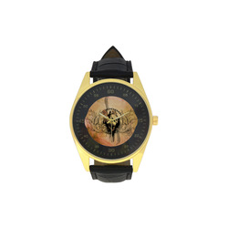 Amazing skull with wings Men's Golden Leather Strap Watch(Model 210)