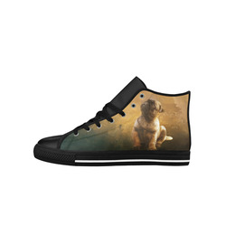 Cute painting pug puppy Aquila High Top Microfiber Leather Women's Shoes (Model 027)