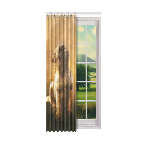 "Cute painting pug puppy Window Curtain 50"" x 108""(One Piece)"
