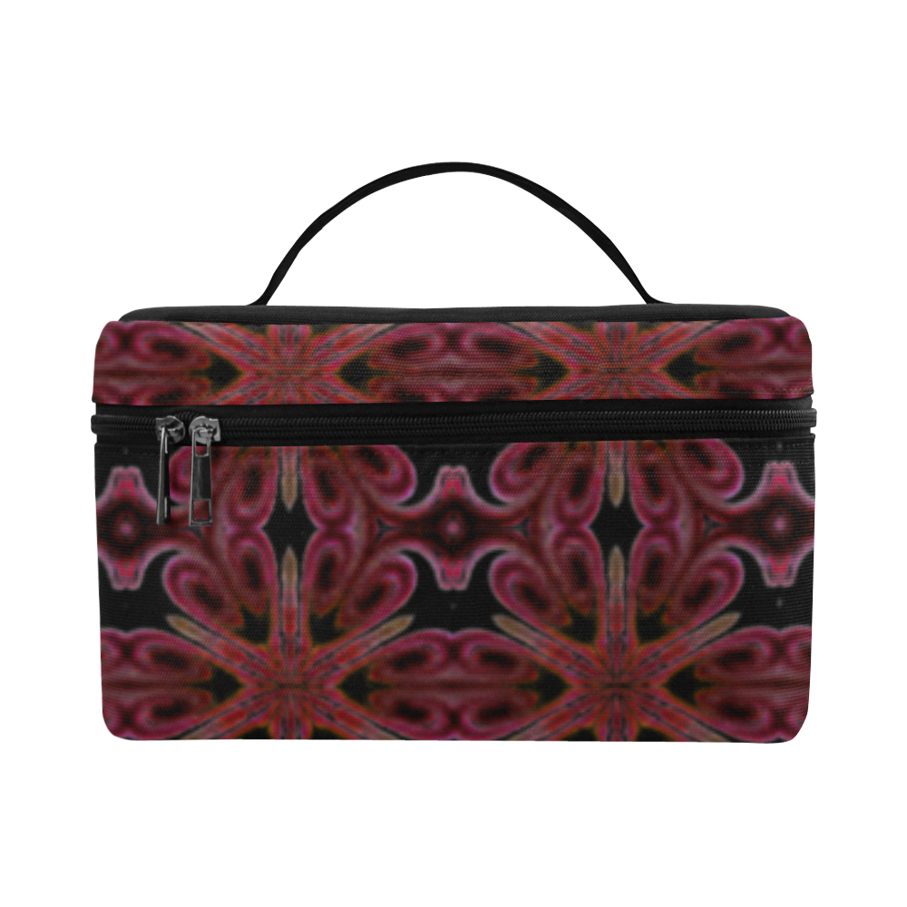 Maroon and Black Abstract Cosmetic Bag/Large (Model 1658)