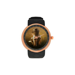 Cute painting pug puppy Men's Rose Gold Resin Strap Watch(Model 308)