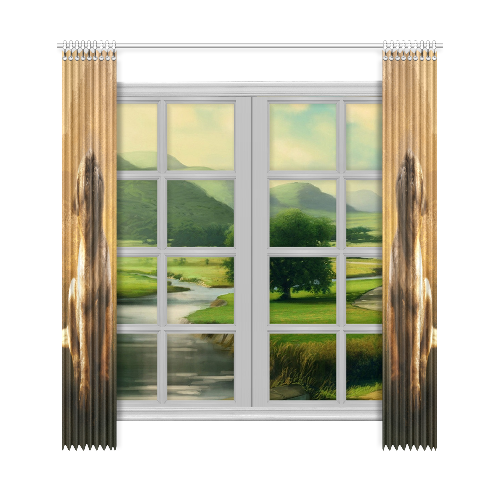 """Cute painting pug puppy Window Curtain 50""""x108""""(Two Piece)"""