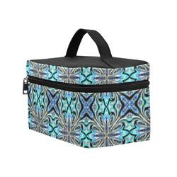 Blue X Geometric Cosmetic Bag/Large (Model 1658)