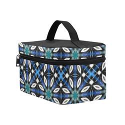 Black and Blue Geometric Cosmetic Bag/Large (Model 1658)