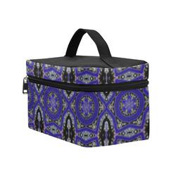Blue and Black Geometric Cosmetic Bag/Large (Model 1658)