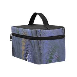 Retro Marbleized Waves Blue Cosmetic Bag/Large (Model 1658)