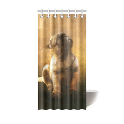 """Cute painting pug puppy Shower Curtain 36""""x72"""""""
