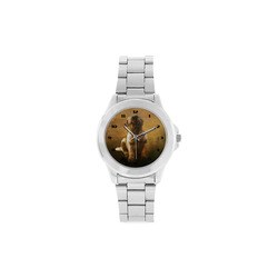 Cute painting pug puppy Unisex Stainless Steel Watch(Model 103)