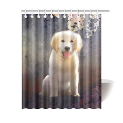 "A cute painting golden retriever puppy Shower Curtain 60""x72"""
