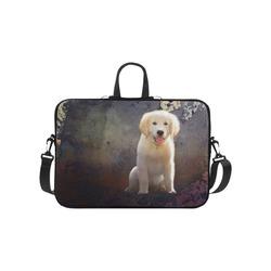 """A cute painting golden retriever puppy Laptop Handbags 10"""""""