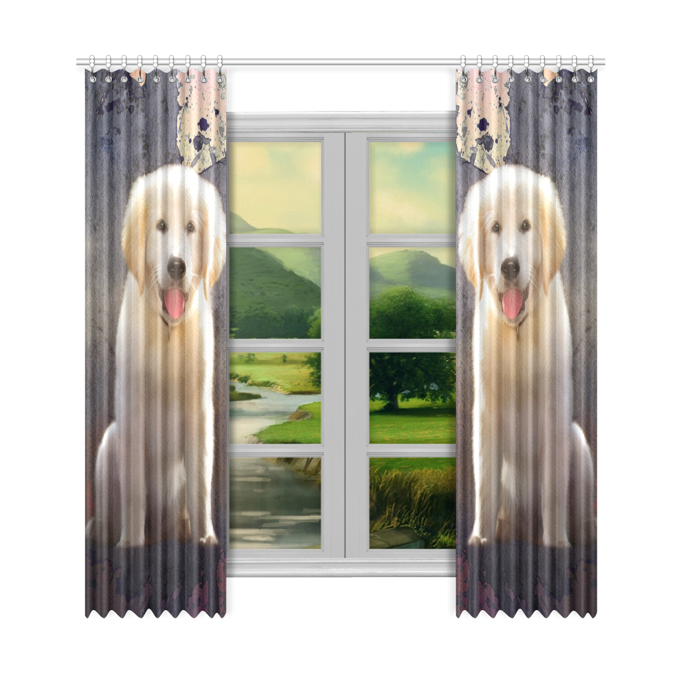 "A cute painting golden retriever puppy Window Curtain 50""x108""(Two Piece)"