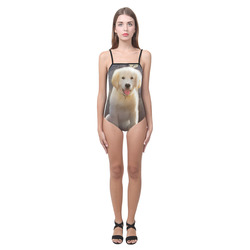 A cute painting golden retriever puppy Strap Swimsuit ( Model S05)