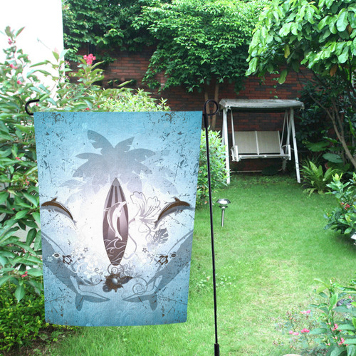 Surfing, surfboard and sharks Garden Flag 12''x18''(Without Flagpole)