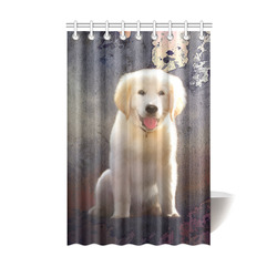 "A cute painting golden retriever puppy Shower Curtain 48""x72"""