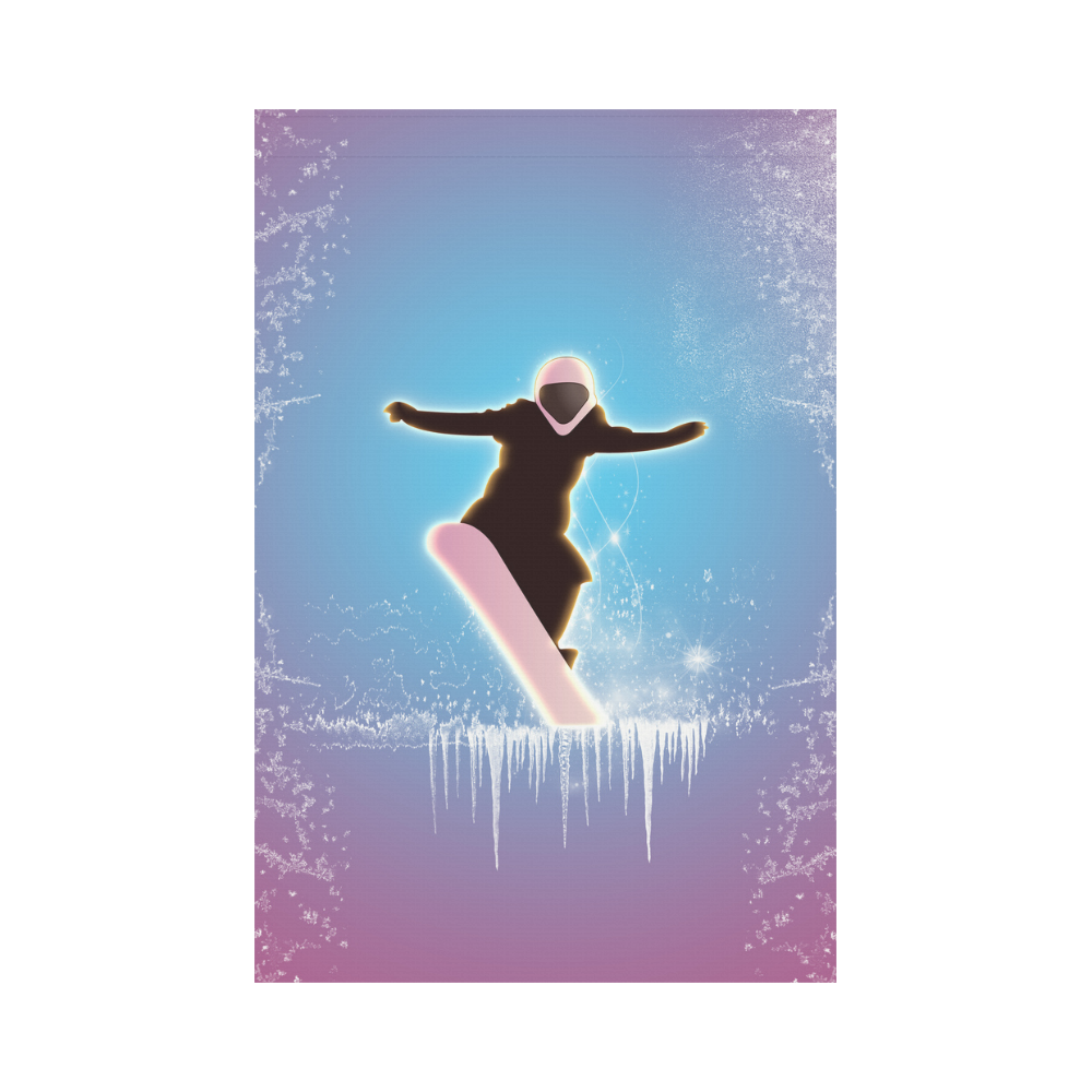 Snowboarding, snowflakes and ice Garden Flag 12''x18''(Without Flagpole)