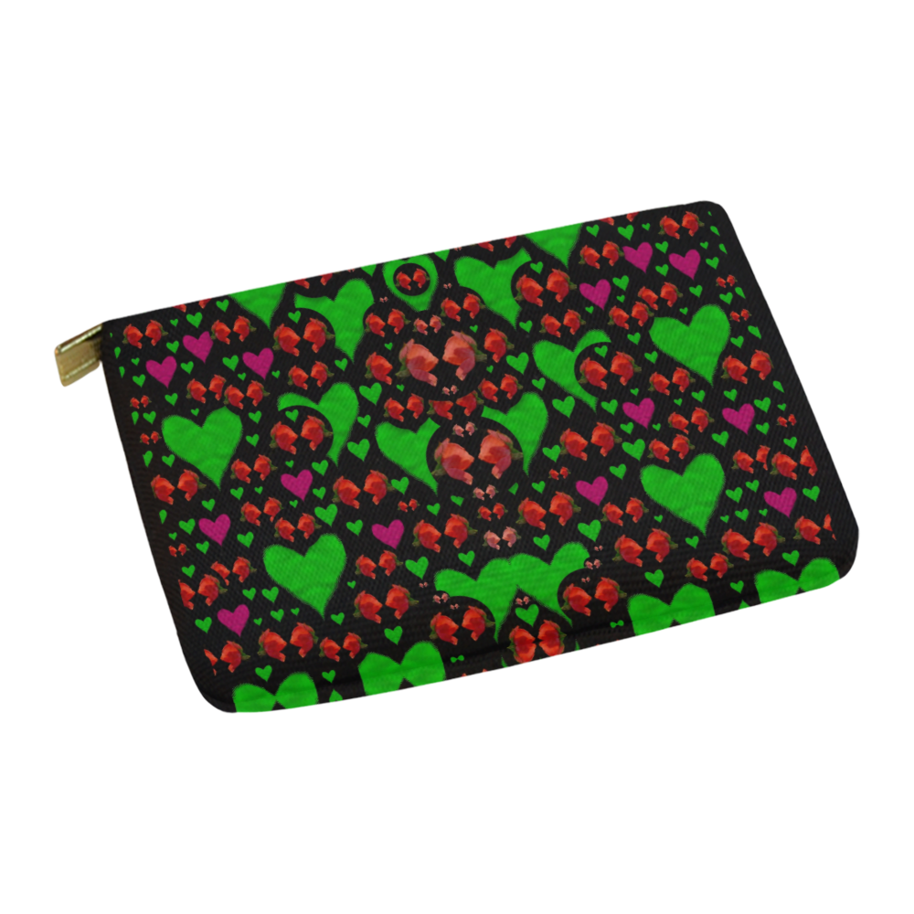 love hearts and roses Carry-All Pouch 12.5''x8.5''