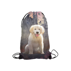 """A cute painting golden retriever puppy Small Drawstring Bag Model 1604 (Twin Sides) 11""""(W) * 17.7""""(H)"""