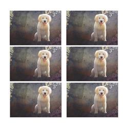A cute painting golden retriever puppy Placemat 12'' x 18'' (Six Pieces)