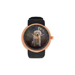 A cute painting golden retriever puppy Men's Rose Gold Resin Strap Watch(Model 308)