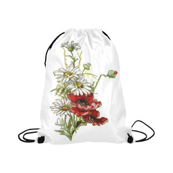 """Vintage Floral Daisies Poppies Large Drawstring Bag Model 1604 (Twin Sides)  16.5""""(W) * 19.3""""(H)"""