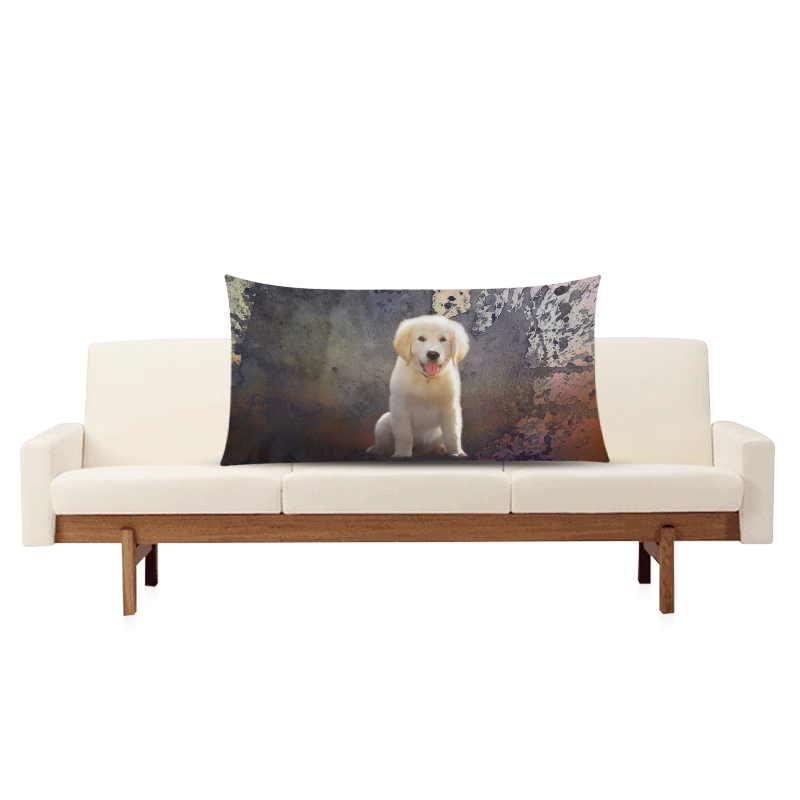 "A cute painting golden retriever puppy Rectangle Pillow Case 20""x36""(Twin Sides)"