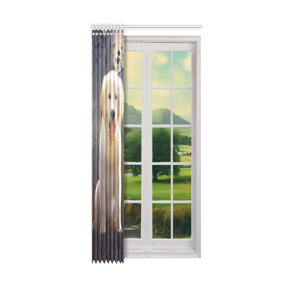 "A cute painting golden retriever puppy Window Curtain 50"" x 108""(One Piece)"