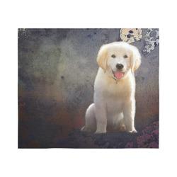 "A cute painting golden retriever puppy Cotton Linen Wall Tapestry 60""x 51"""