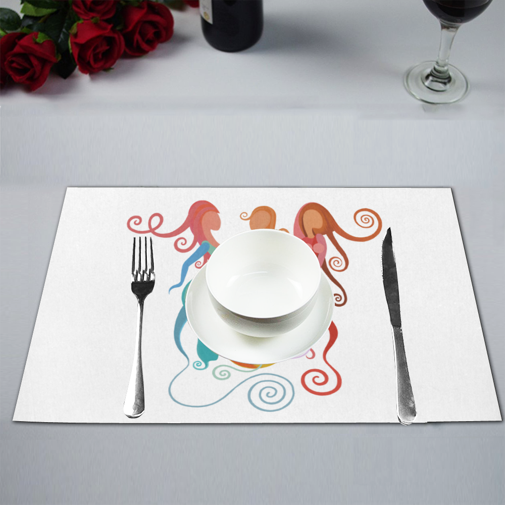 La Femme Mingle, abstract painting, women Placemat 12'' x 18'' (Four Pieces)