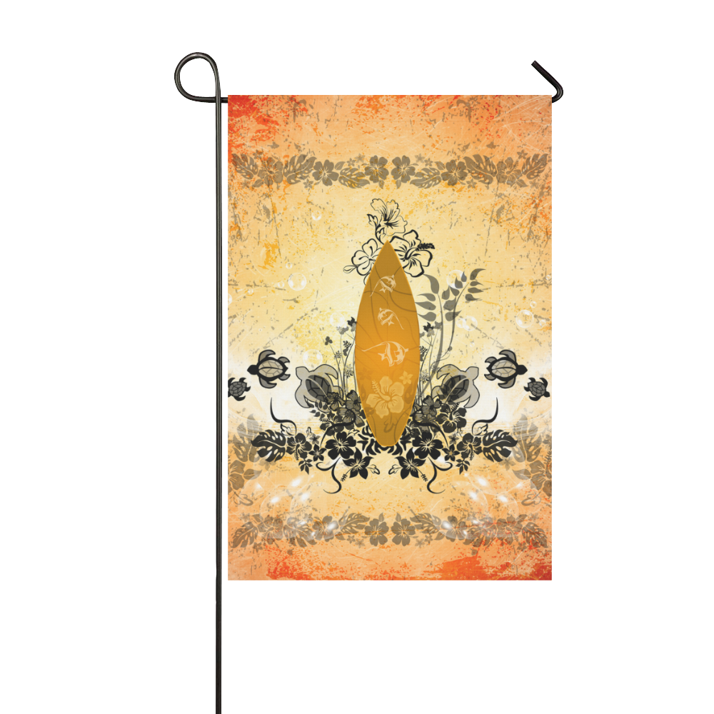 Surfboard with turtles and flowers Garden Flag 12''x18''(Without Flagpole)