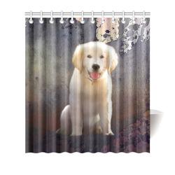 "A cute painting golden retriever puppy Shower Curtain 66""x72"""